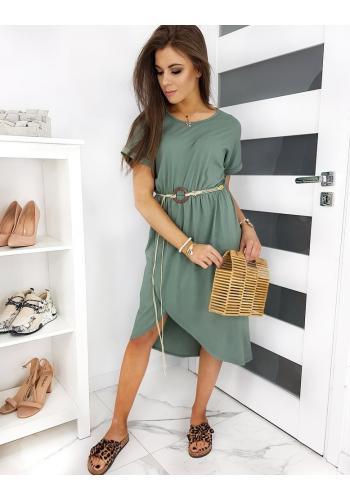 Dámské volnější šaty s páskem v olivové barvě