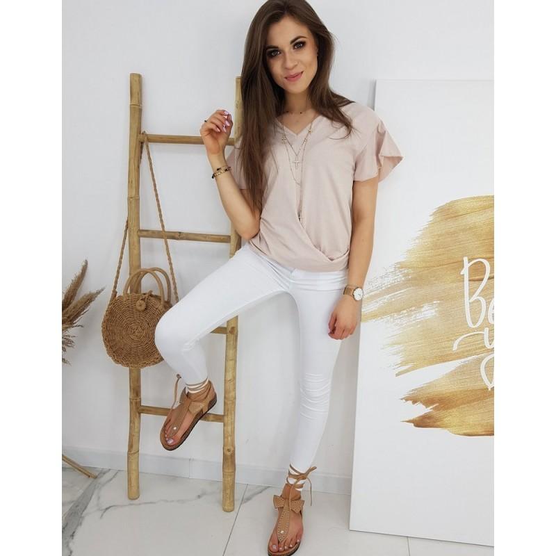 Růžová módní halenka s krátkým rukávem pro dámy
