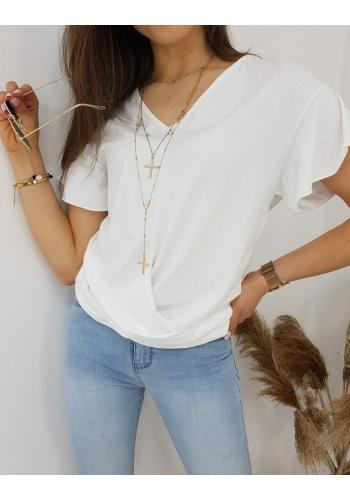 Dámská módní halenka s krátkým rukávem v bílé barvě