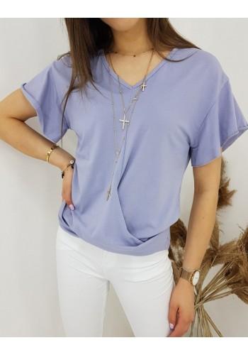 Módní dámská halenka fialové barvy s krátkým rukávem