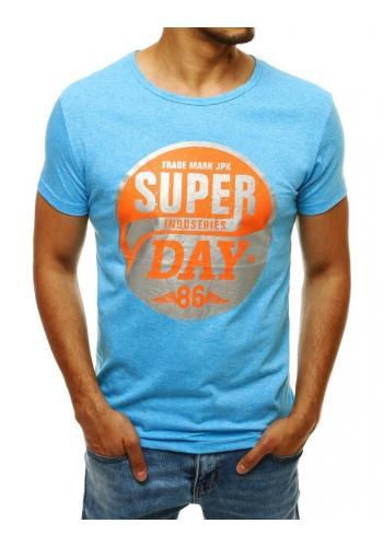 Módní pánské tričko světle modré barvy s potiskem