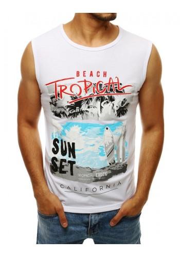 Pánské letní tričko s potiskem v bílé barvě