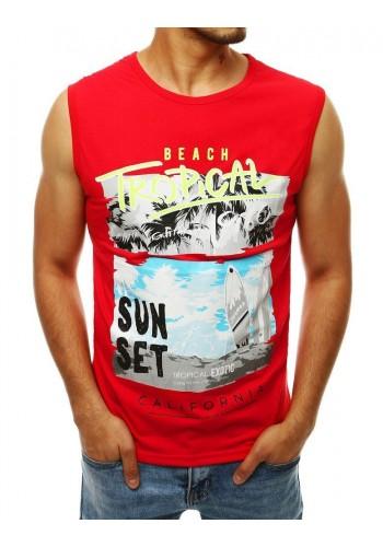Letní pánské tričko červené barvy s potiskem