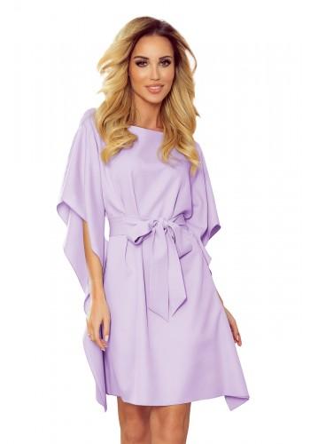 Světle fialové módní šaty s páskem pro dámy