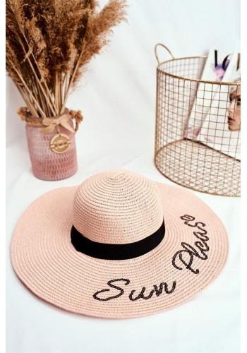 Dámský letní klobouk s nápisem Sun Please v růžové barvě