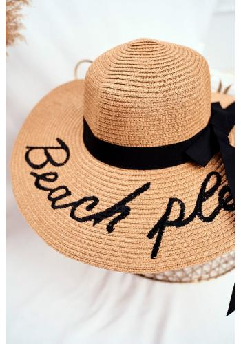 Letní dámský klobouk hnědé barvy s nápisem Beach please