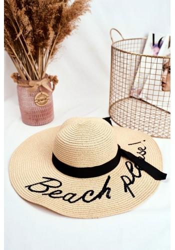 Béžový letní klobouk s nápisem Beach please pro dámy