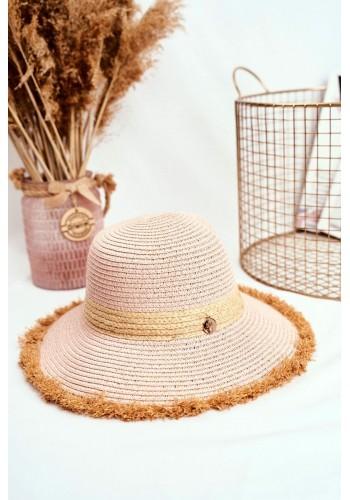 Plážový dámský klobouk růžové barvy se zdobeným kruhem