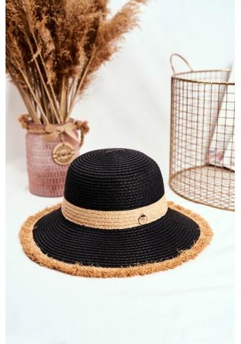 Černý plážový klobouk se zdobeným kruhem pro dámy