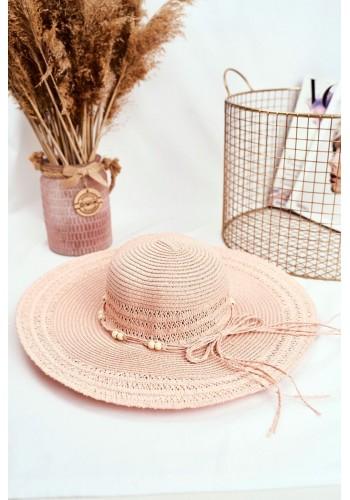 Dámský slaměný klobouk se šňůrkou s korálky v růžové barvě
