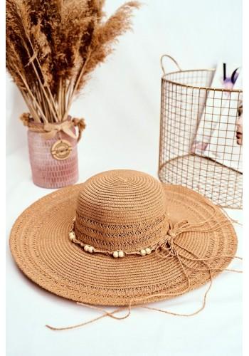 Hnědý slaměný klobouk se šňůrkou s korálky pro dámy