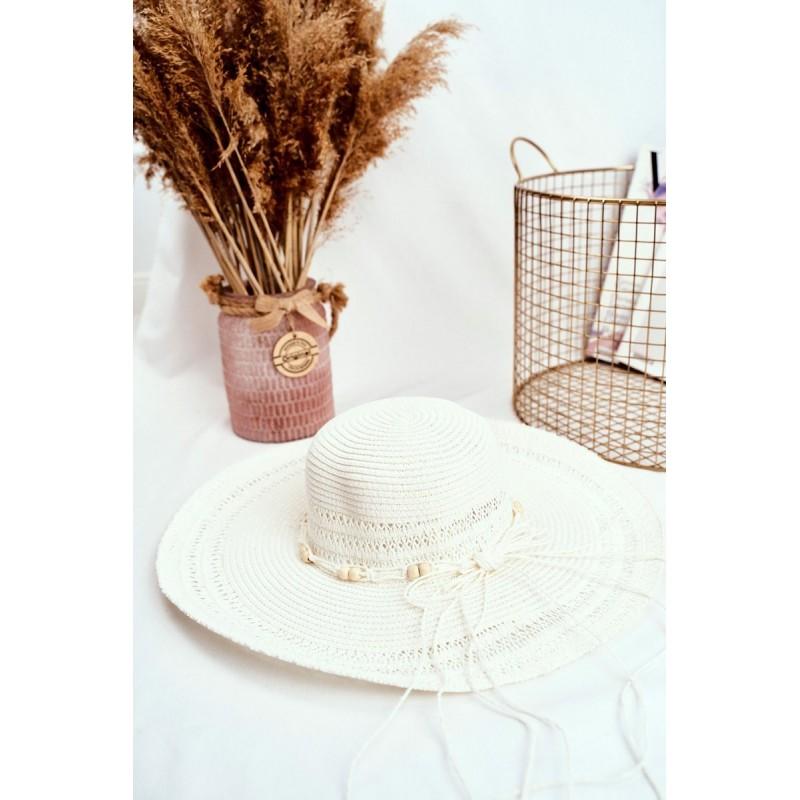 Dámské slaměné klobouky se šňůrkou s korálky v bílé barvě