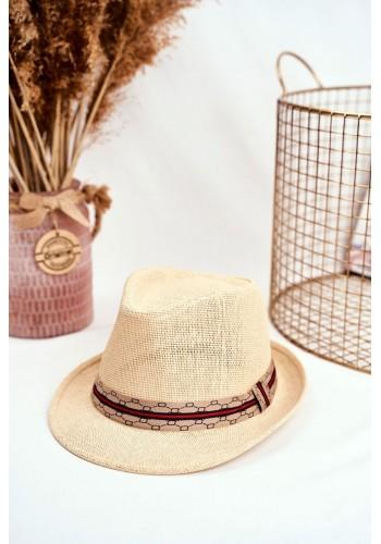 Béžový módní klobouk s barevným páskem pro dámy