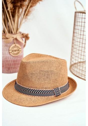 Módní dámský klobouk hnědé barvy s barevným páskem
