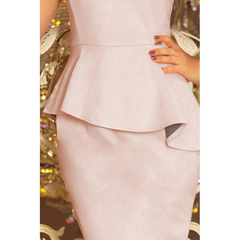 Dámské semišové šaty s asymetrickým volánem v starorůžové barvě