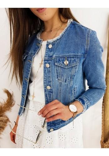 Krátká riflová dámská bunda světle modré barvy bez límce