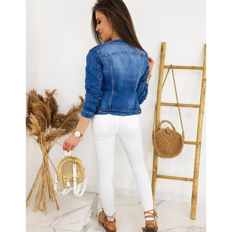 Modrá krátká riflová bunda bez límce pro dámy