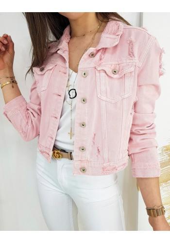 Riflová dámská bunda růžové barvy s módními dírami