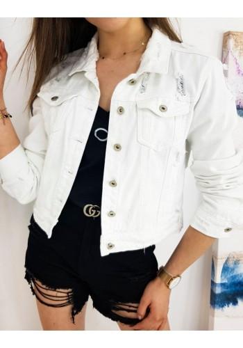 Dámské riflové bundy s módními dírami v bílé barvě