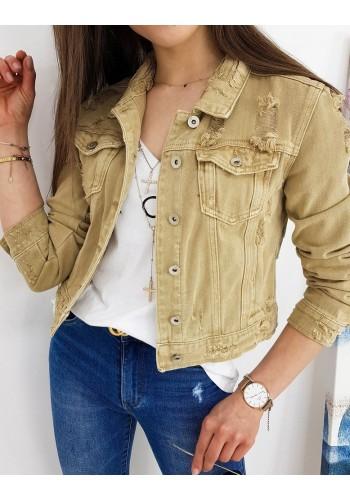 Riflová dámská bunda béžové barvy s módními dírami