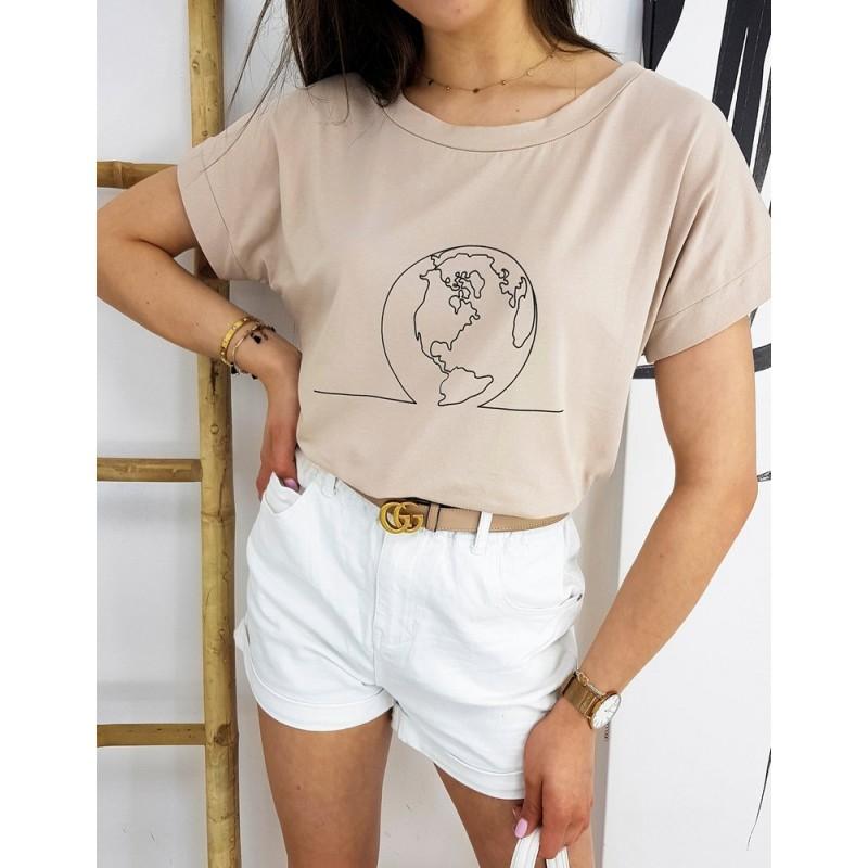 Klasické dámské tričko béžové barvy s potiskem