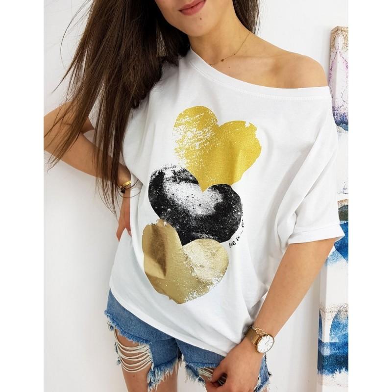 Bílé oversize tričko s barevným potiskem pro dámy