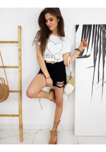 Dámské klasické tričko s potiskem v bílé barvě