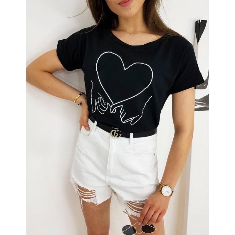 Černé klasické tričko s potiskem pro dámy