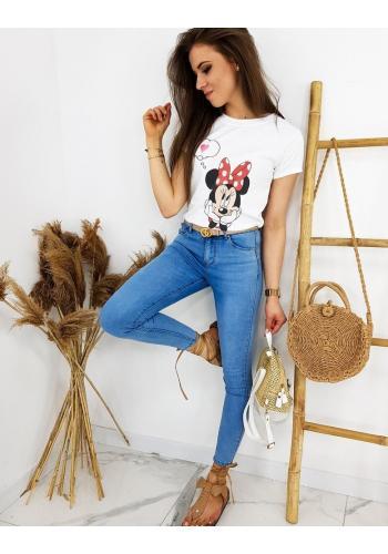Módní dámské tričko bílé barvy s potiskem Minnie