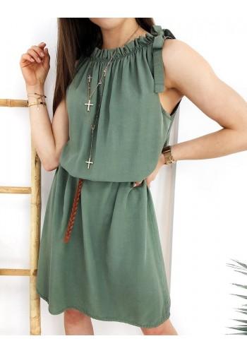 Letní dámské šaty kaki barvy bez rukávů