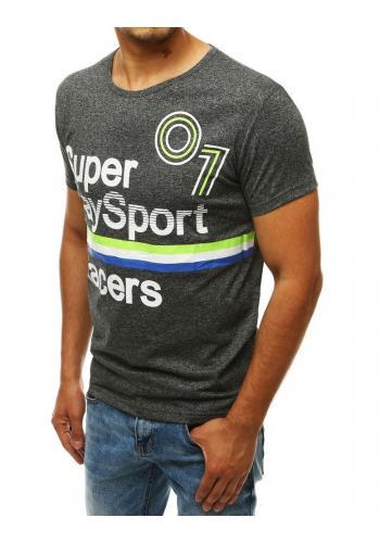 Tmavě šedé sportovní tričko s potiskem pro pány
