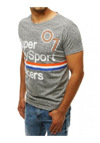 Pánské sportovní tričko s potiskem v světle šedé barvě