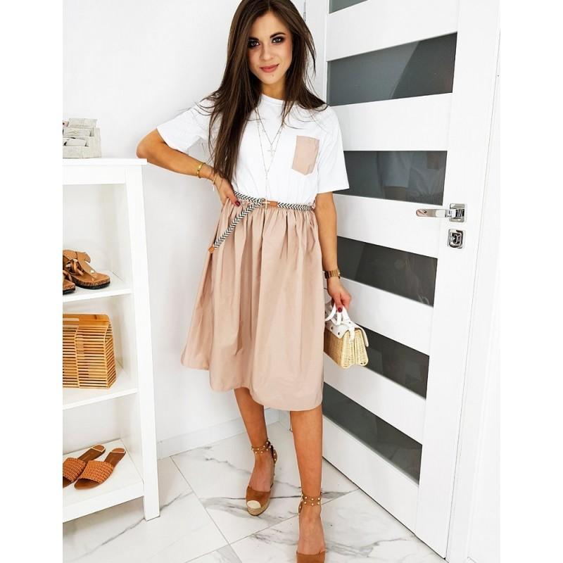 Dámské módní šaty s rozšířenou sukní v růžovo-bílé barvě