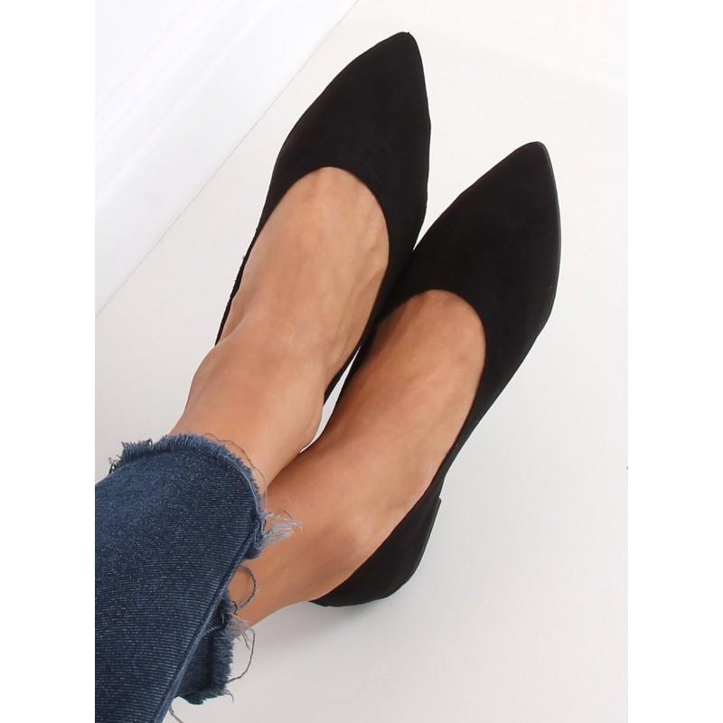 Černé semišové balerínky pro dámy