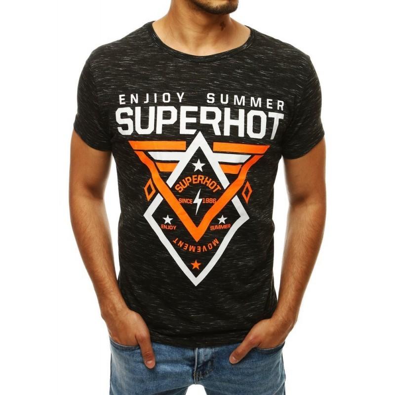 Černé vzorované tričko s potiskem pro pány