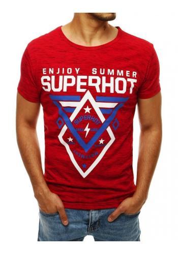 Vzorované pánské tričko červené barvy s potiskem