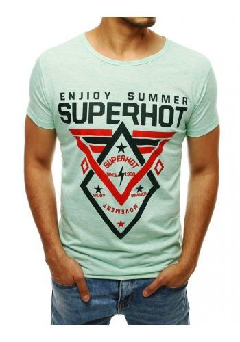 Zelené vzorované tričko s potiskem pro pány