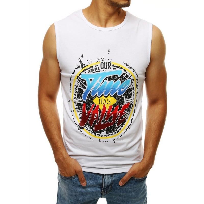Pánské módní tričko s barevným potiskem v bílé barvě