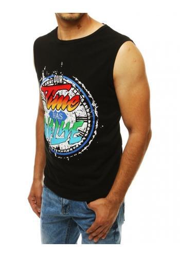 Černé módní tričko s barevným potiskem pro pány