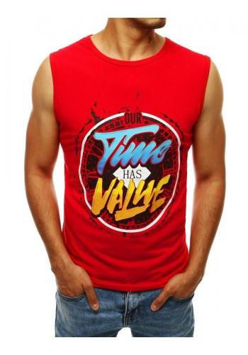 Módní pánské tričko červené barvy s barevným potiskem
