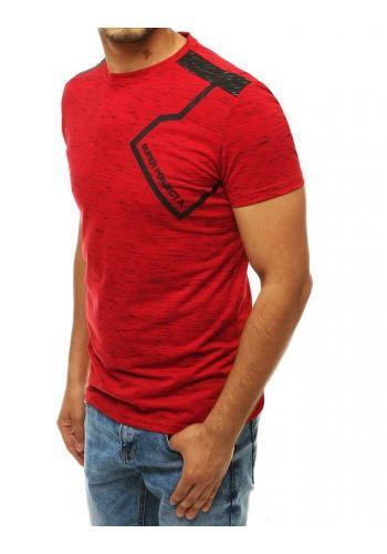 Pánské stylové tričko s potiskem v červené barvě