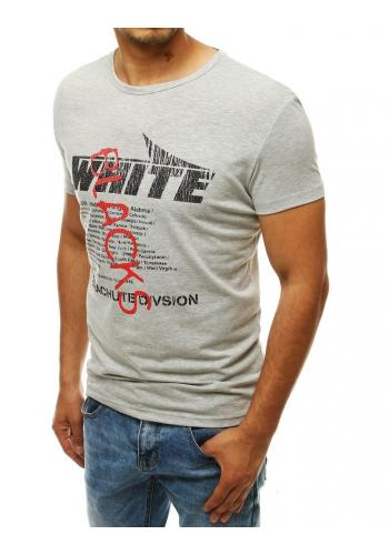 Módní pánské tričko světle šedé barvy s potiskem