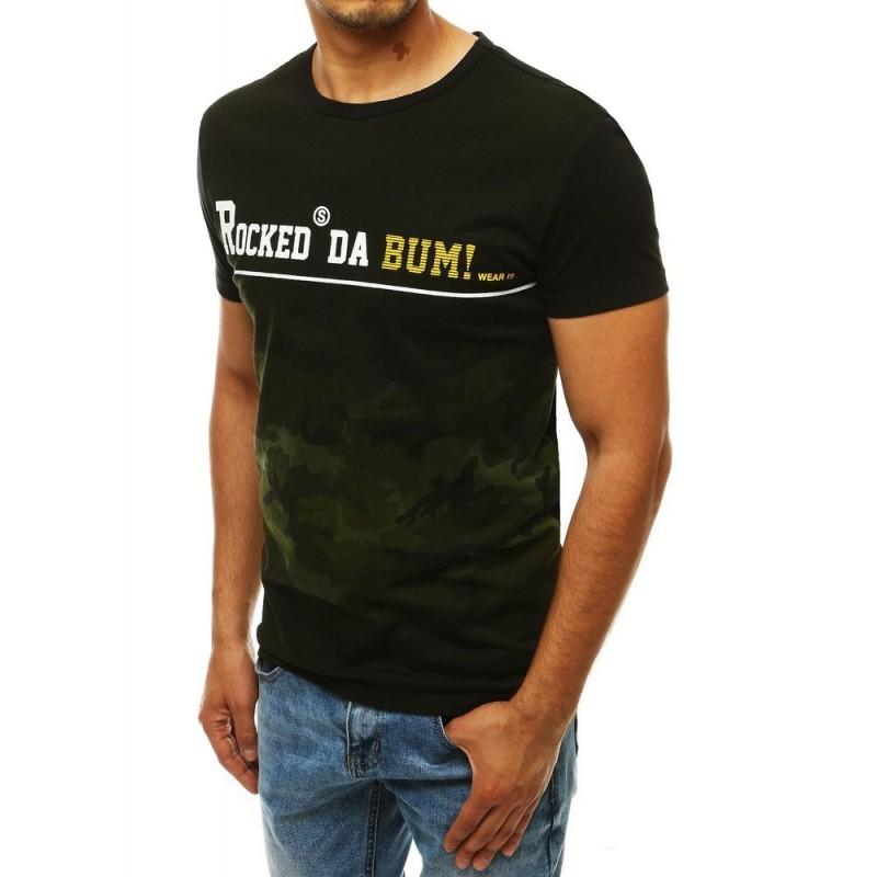 Zeleno-černé stylové tričko s potiskem pro pány