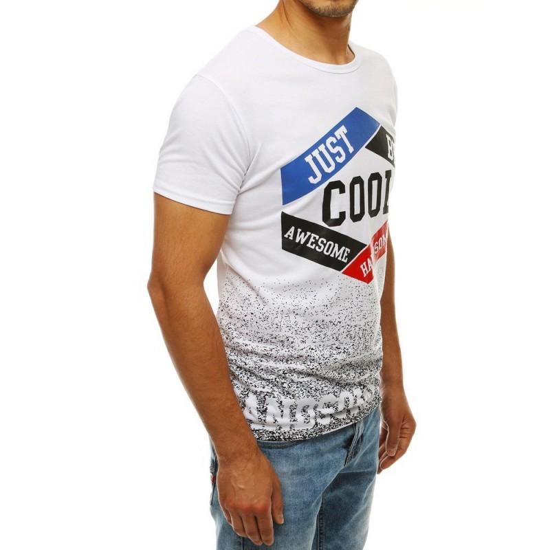 Pánské klasické tričko se stylovým potiskem v bílé barvě