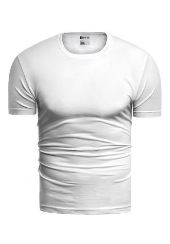 Pánské klasické tričko s krátkým rukávem v bílé barvě