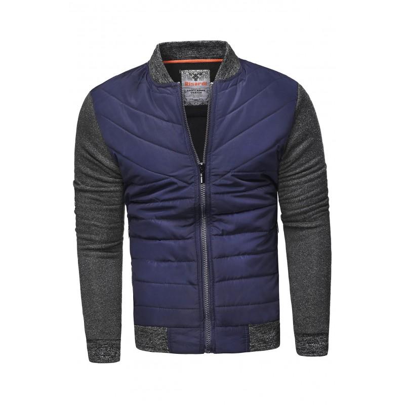 Pánská prošívaná bunda na jaro v tmavě modré barvě