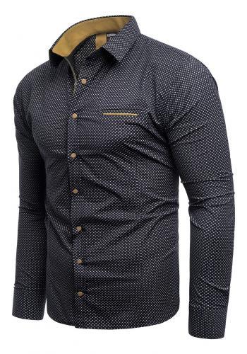 Vzorovaná pánská košile ocelové barvy s dlouhým rukávem