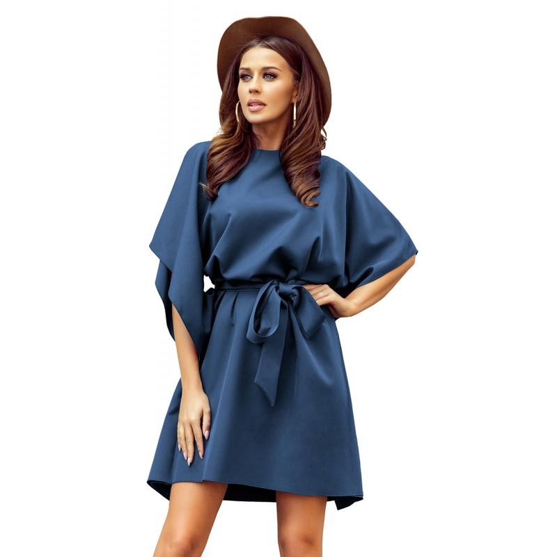 Módní dámské šaty modré barvy s páskem