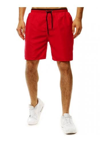 Koupací pánské šortky červené barvy s kontrastním detailem