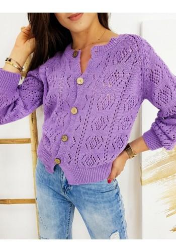 Dámský ažurový svetr se zapínáním ve fialové barvě